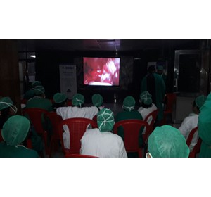 Operating and lecturing at the live operative workshop on gynecological oncology at Bokaro General Hospital. It was an enjoyable experience.